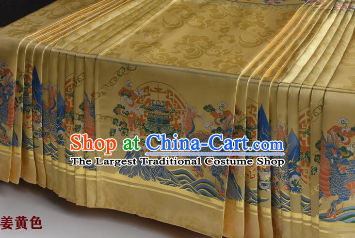 Chinese Ancient Princess Golden Brocade Horse Face Skirt Traditional Ming Dynasty Court Lady Costumes for Women