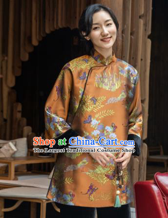 Top Grade Traditional Chinese Orange Cotton Wadded Jacket Tang Suit Silk Upper Outer Garment for Women