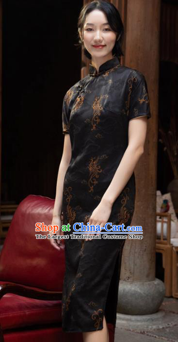 Traditional Chinese National Graceful Black Silk Cheongsam Tang Suit Qipao Dress for Women