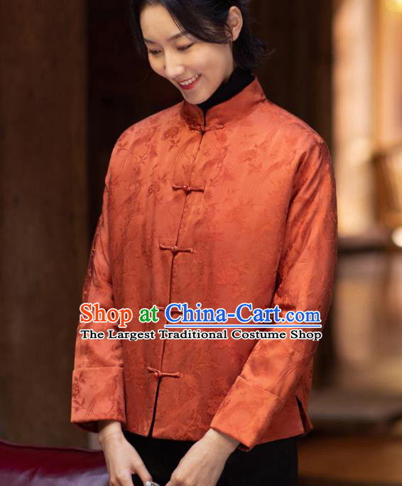 Top Grade Traditional Chinese National Orange Cotton Wadded Jacket Tang Suit Silk Upper Outer Garment for Women