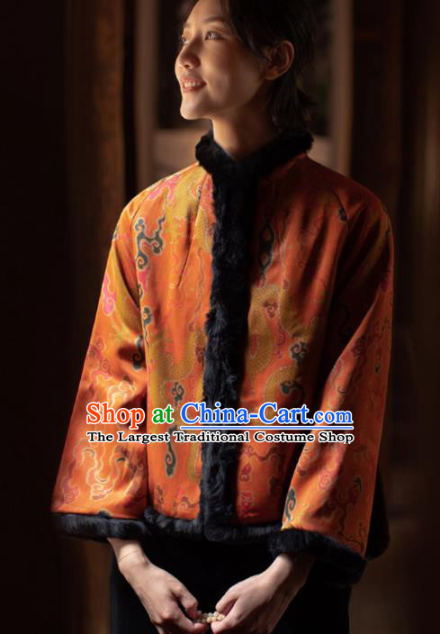 Top Grade Traditional Chinese National Orange Silk Cotton Wadded Jacket Tang Suit Upper Outer Garment for Women