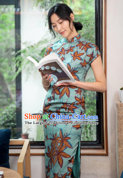 Traditional Chinese National Graceful Printing Blue Silk Cheongsam Tang Suit Qipao Dress for Women