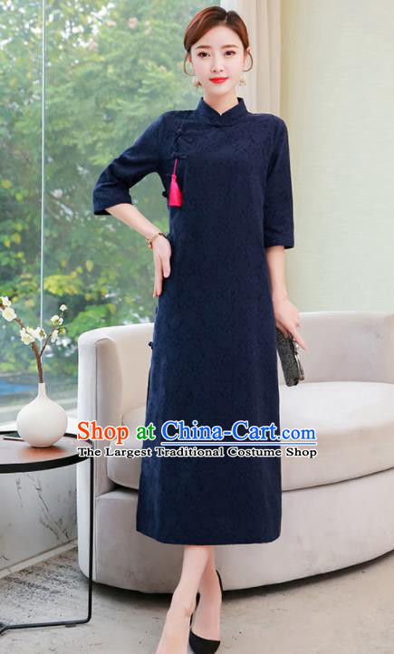 Chinese Traditional Compere Navy Cotton Cheongsam Costume China National Qipao Dress for Women
