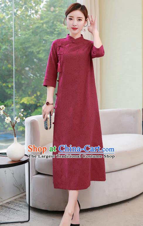 Chinese Traditional Compere Wine Red Cotton Cheongsam Costume China National Qipao Dress for Women