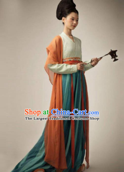 Chinese Traditional Tang Dynasty Court Lady Costume Ancient Flying Goddess Hanfu Dress for Women