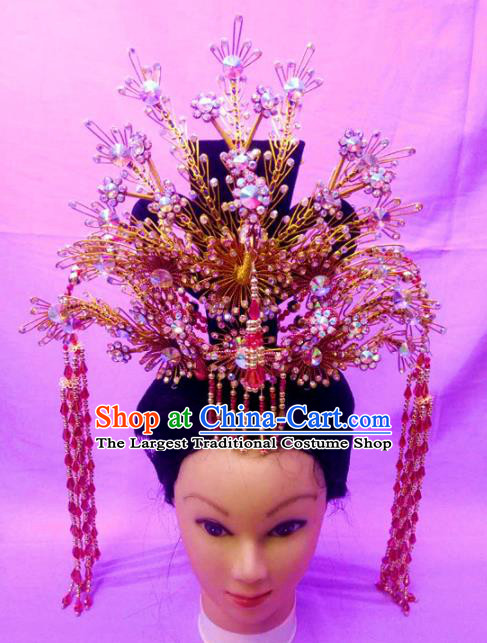 Chinese Traditional Peking Opera Princess Phoenix Crown Hairpins Handmade Beijing Opera Diva Hair Accessories for Women