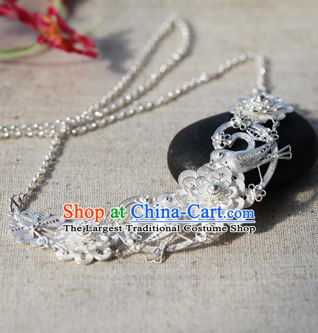 Chinese Traditional Miao Nationality Silver Carving Longevity Lock Handmade Ethnic Necklace Accessories for Women