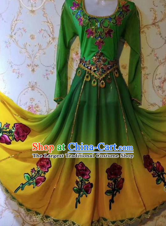 Chinese Traditional Uyghur Nationality Folk Dance Green Dress Xinjiang Ethnic Stage Show Costume for Women