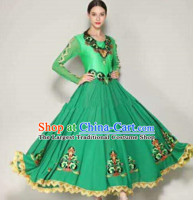 Traditional Chinese Xinjiang Uyghur Nationality Folk Dance Green Dress Ethnic Stage Show Costume for Women