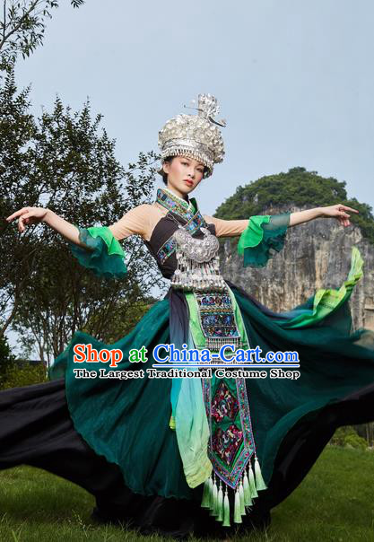 Traditional Chinese Miao Nationality Green Dress Guizhou Ethnic Folk Dance Stage Show Costume for Women