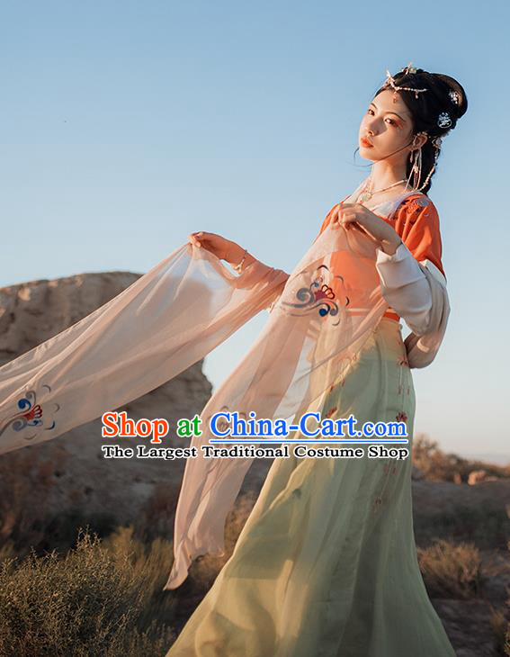 Chinese Ancient Court Maid Hanfu Dress Traditional Tang Dynasty Flying Apsaras Goddess Dance Costumes for Women