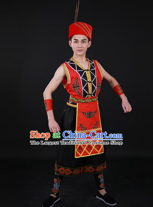 Chinese Traditional Gaoshan Nationality Festival Outfits Ethnic Minority Folk Dance Stage Show Costume for Men