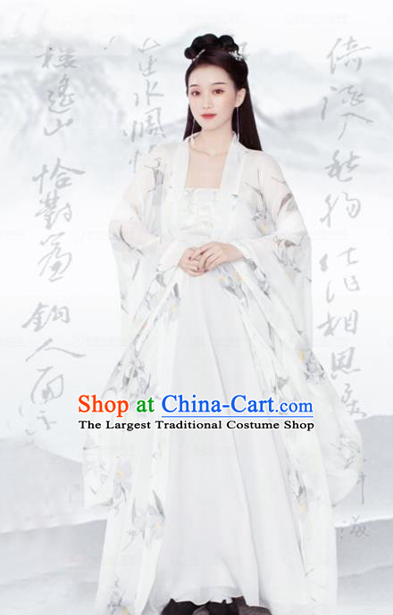 Chinese Ancient Goddess Apsara White Hanfu Dress Traditional Tang Dynasty Court Princess Costumes for Women