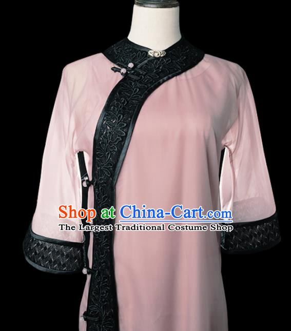 Chinese Traditional Deep Pink Cheongsam Costume Republic of China Mandarin Qipao Dress for Women