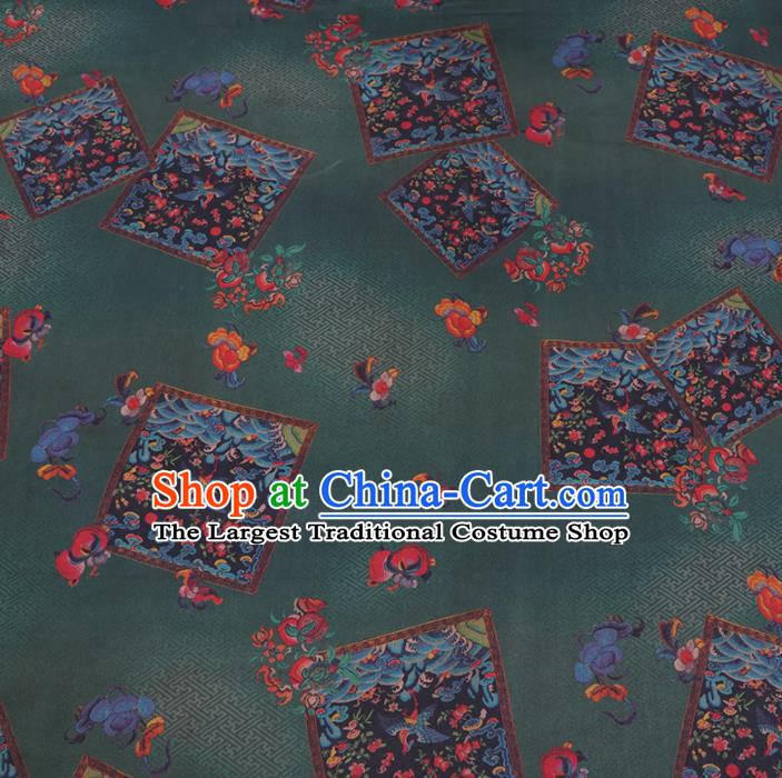 Chinese Cheongsam Classical Peach Pattern Design Deep Green Watered Gauze Fabric Asian Traditional Silk Material