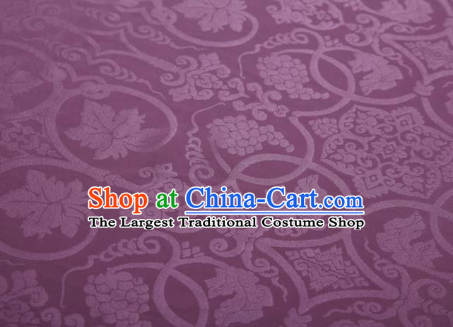 Chinese Classical Grape Pattern Design Purple Mulberry Silk Fabric Asian Traditional Cheongsam Silk Material