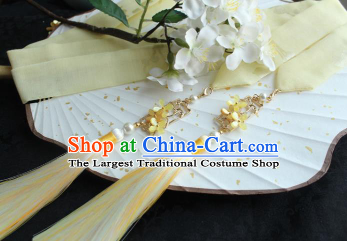 Chinese Traditional Hanfu Ming Dynasty Yellow Fragrans Ribbon Headband Handmade Ancient Princess Hair Accessories for Women