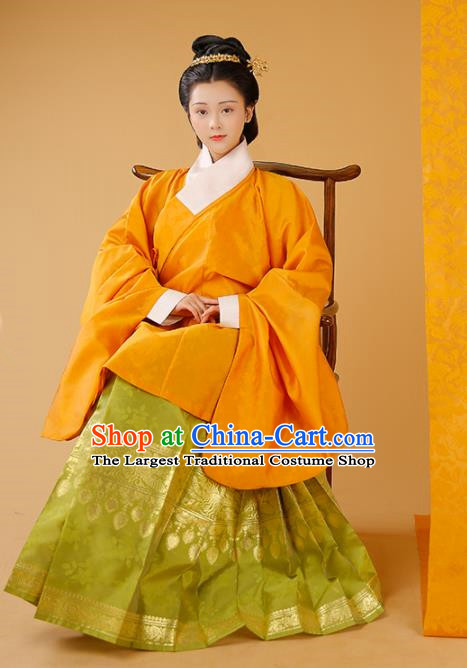 Traditional Chinese Court Orange Blouse and Skirt Ancient Ming Dynasty Countess Historical Costumes for Women