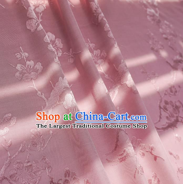 Chinese Traditional Classical Plum Blossom Pattern Pink Cotton Fabric Imitation Silk Fabric Hanfu Dress Material
