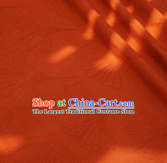 Chinese Traditional Classical Ginkgo Leaf Pattern Orange Cotton Fabric Imitation Silk Fabric Hanfu Dress Material