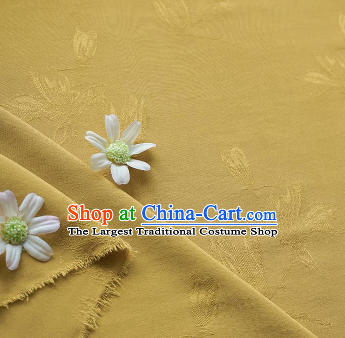 Chinese Traditional Classical Jacquard Magnolia Pattern Ginger Cotton Fabric Imitation Silk Fabric Hanfu Dress Material