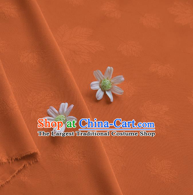 Chinese Traditional Classical Maple Leaf Pattern Orange Cotton Fabric Imitation Silk Fabric Hanfu Dress Material