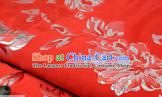 Chinese Traditional Peony Pattern Red Brocade Fabric Silk Satin Fabric Hanfu Material