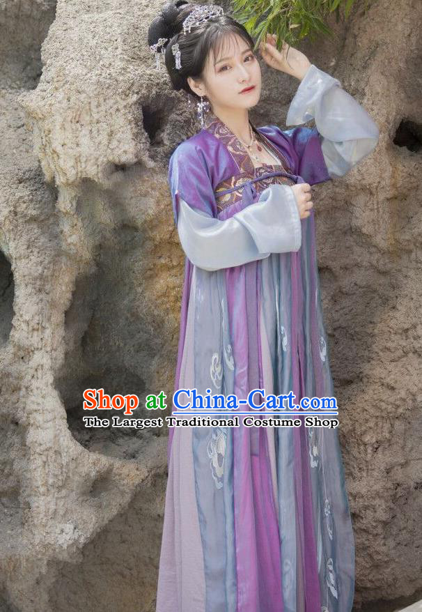 Chinese Ancient Court Maid Embroidered Dress Traditional Tang Dynasty Palace Lady Costumes for Women