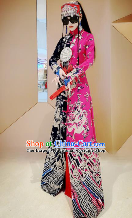 Chinese Traditional National Rosy Linen Qipao Tang Suit Cheongsam Dress Costume for Women
