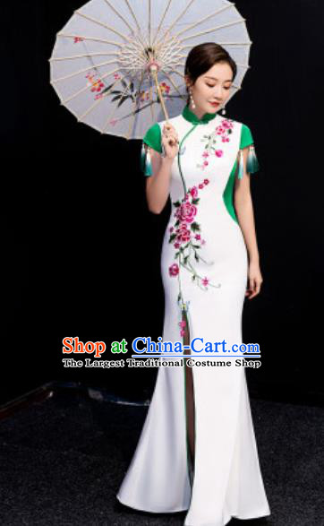 Chinese National Stage Show Embroidered Qipao Dress Traditional Compere Cheongsam Costume for Women