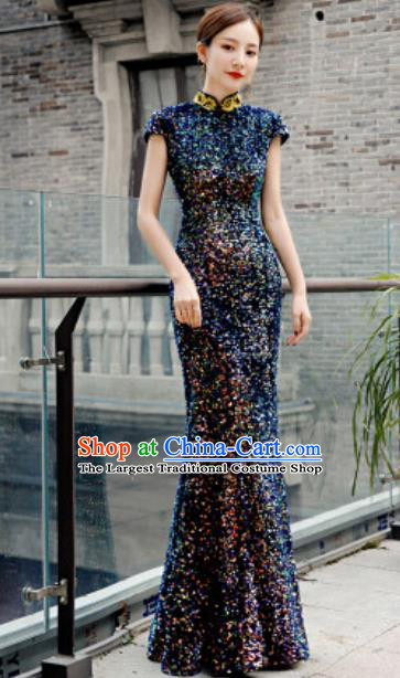 Chinese Compere National Stage Show Navy Qipao Dress Traditional Cheongsam Costume for Women