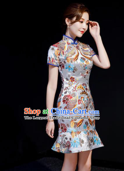 Chinese Chorus Grey Brocade Short Qipao Dress Traditional National Compere Cheongsam Costume for Women