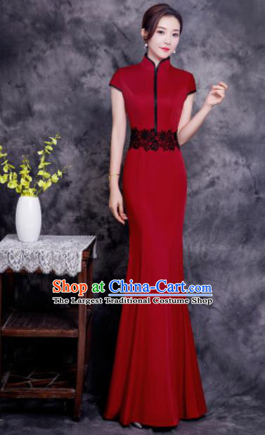 Chinese Chorus Wine Red Long Qipao Dress Traditional National Compere Cheongsam Costume for Women