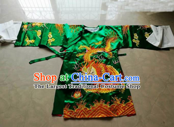 Chinese Traditional God Embroidered Green Priest Frock Taoism Deity Costume
