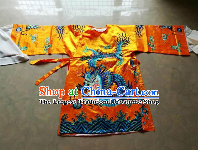 Chinese Traditional God Embroidered Golden Priest Frock Taoism Deity Costume