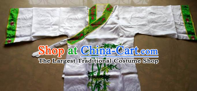 Chinese Traditional God Embroidered White Priest Frock Taoism Deity Costume