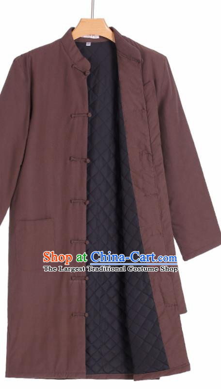 Chinese National Tang Suit Brown Cotton Padded Jacket Overcoat Traditional Martial Arts Costumes for Men