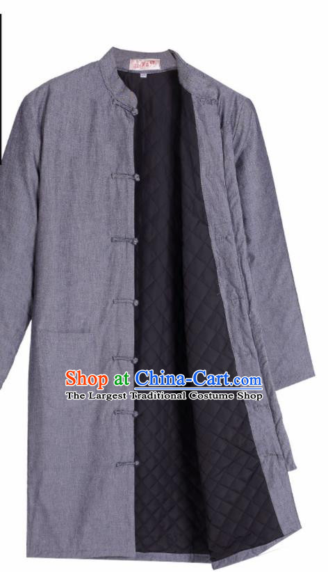 Chinese National Tang Suit Grey Cotton Padded Jacket Overcoat Traditional Martial Arts Costumes for Men