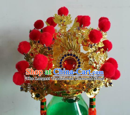 Chinese Traditional God Statue Golden Hat Taoism Royal Highness Headwear