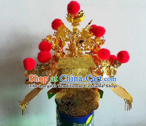 Chinese Traditional Guan Gong God Statue Golden Hat Taoism Deity Headwear