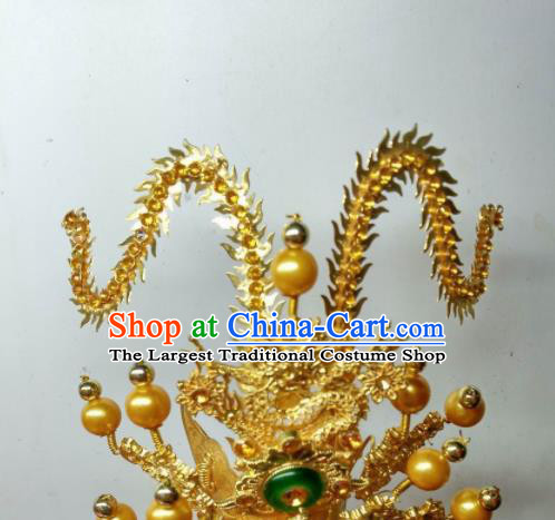 Chinese Traditional God Crown Prince Statue Golden Hat Taoism Deity Headwear