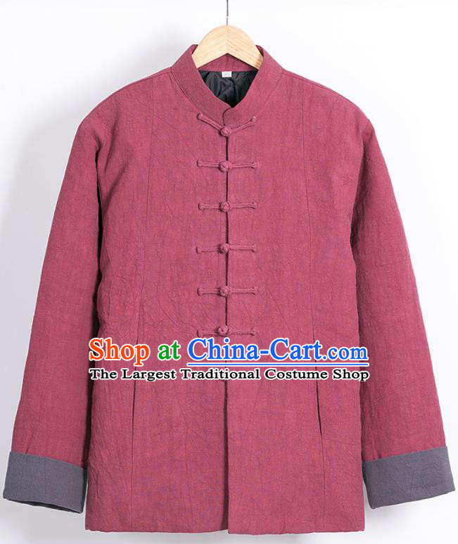 Chinese National Tang Suit Wine Red Cotton Wadded Jacket Traditional Martial Arts Overcoat Costumes for Men