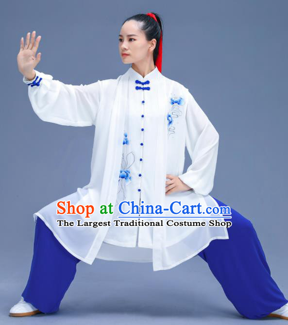 Chinese Traditional Kung Fu Embroidered Blue Peony Garment Outfits Martial Arts Stage Show Costumes for Women