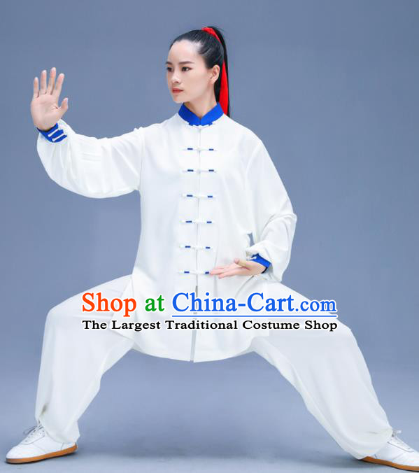 Chinese Traditional Kung Fu White Garment Outfits Martial Arts Stage Show Costumes for Women