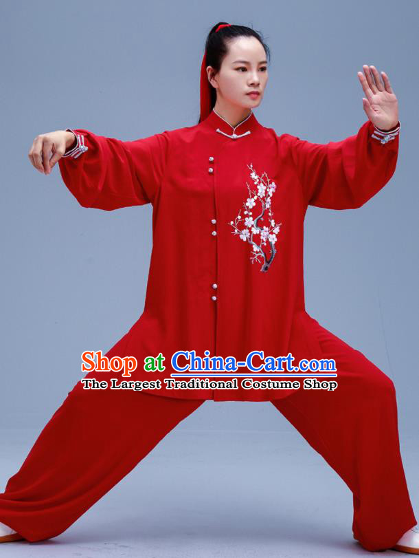 Chinese Traditional Kung Fu Embroidered Plum Blossom Red Outfits Martial Arts Competition Costumes for Women