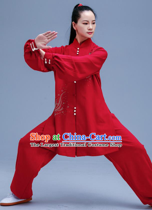 Chinese Traditional Kung Fu Red Outfits Martial Arts Competition Costumes for Women