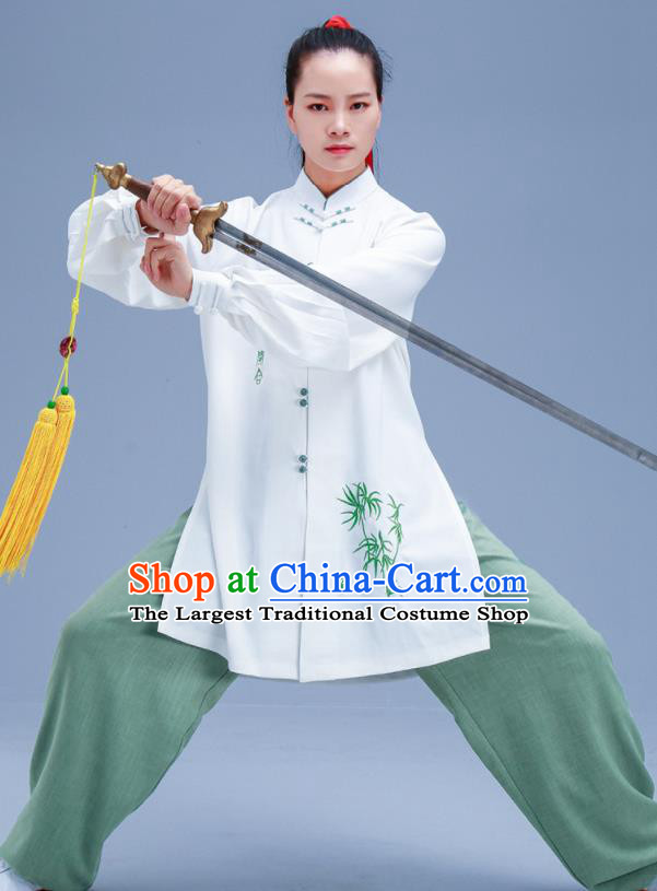 Chinese Traditional Kung Fu Embroidered Bamboo Outfits Martial Arts Competition Costumes for Women