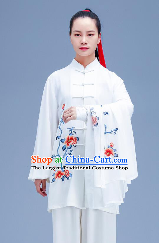 Chinese Traditional Kung Fu Embroidered Peony White Outfits Martial Arts Competition Costumes for Women