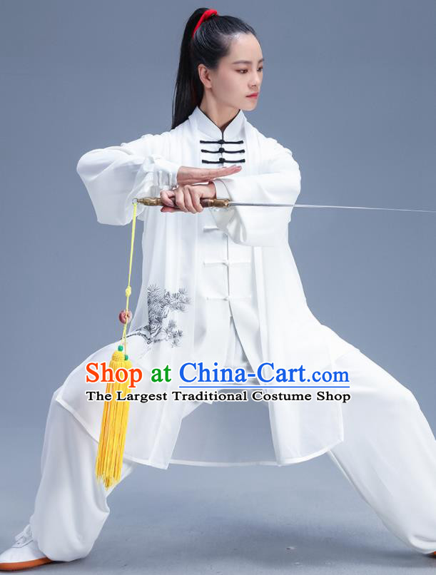 Chinese Traditional Kung Fu Competition White Outfits Martial Arts Stage Show Costumes for Women