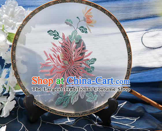 Chinese Traditional Hanfu Embroidered Chrysanthemum Silk Round Fan Ancient Princess Palace Fans for Women